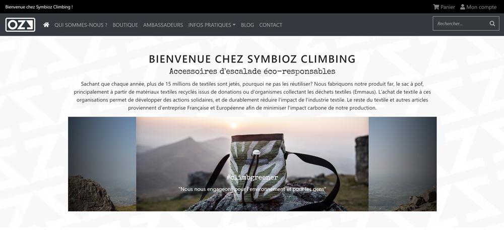 Création site internet de Symbioz Climbing
