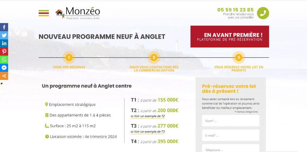 Création site internet de Plateforme Monzéo
