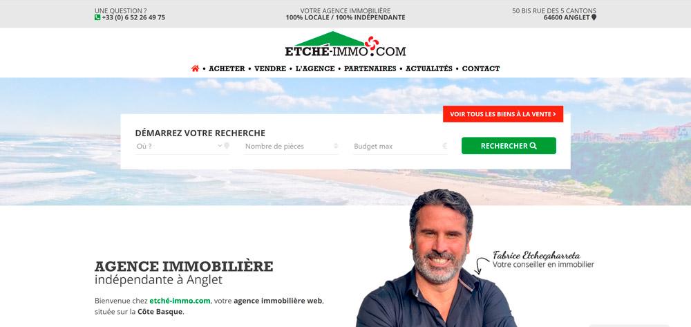 Création site internet de Etché-immo.com, agence immobilière à Anglet